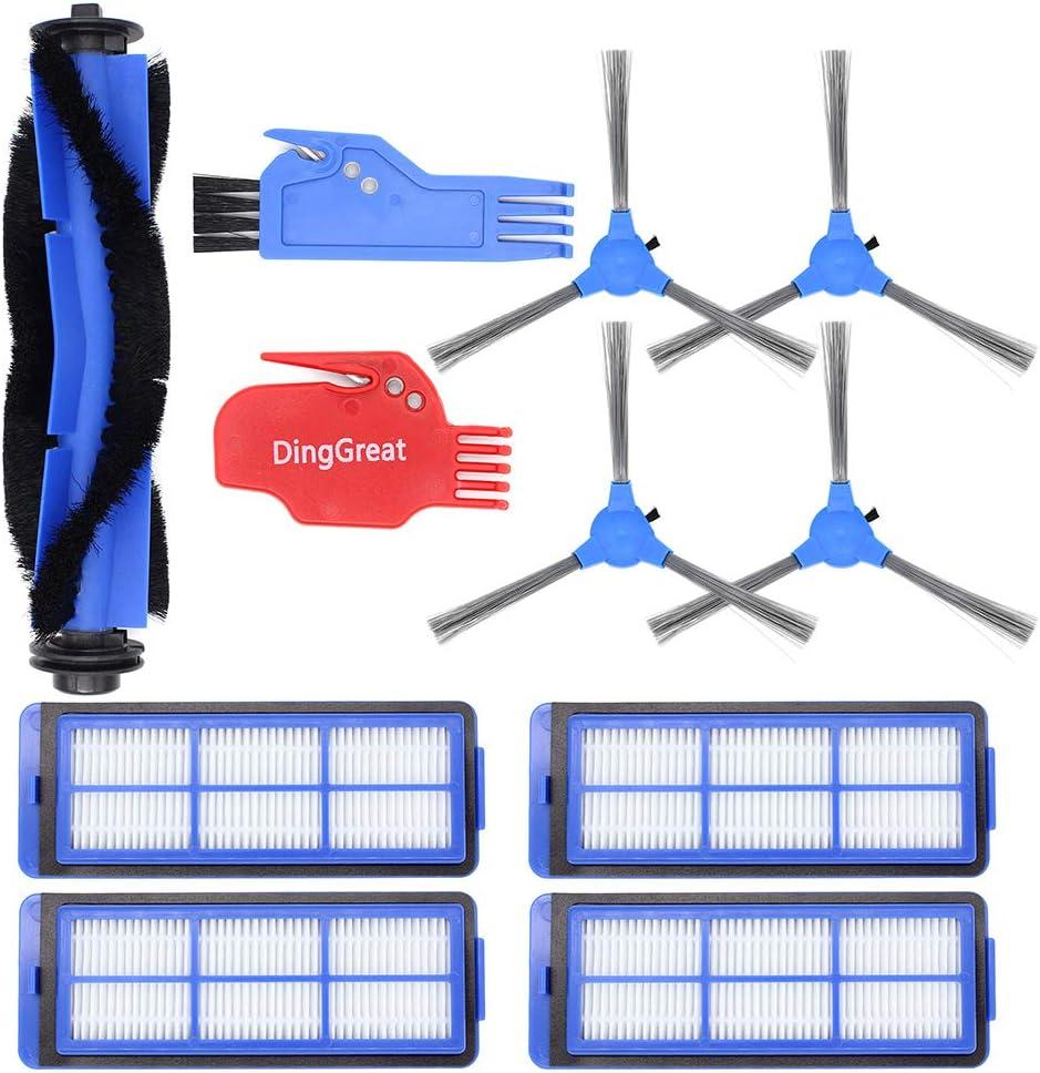 RoboVac 30C Max Robot aspirateur RoboVac 15C Max 4 Filtres DingGreat Kit de remplacement pour Eufy RoboVac 11S Max Pack de 1 Brosse Principale 1 Brosse de Nettoyage 4 brosses lat/érales