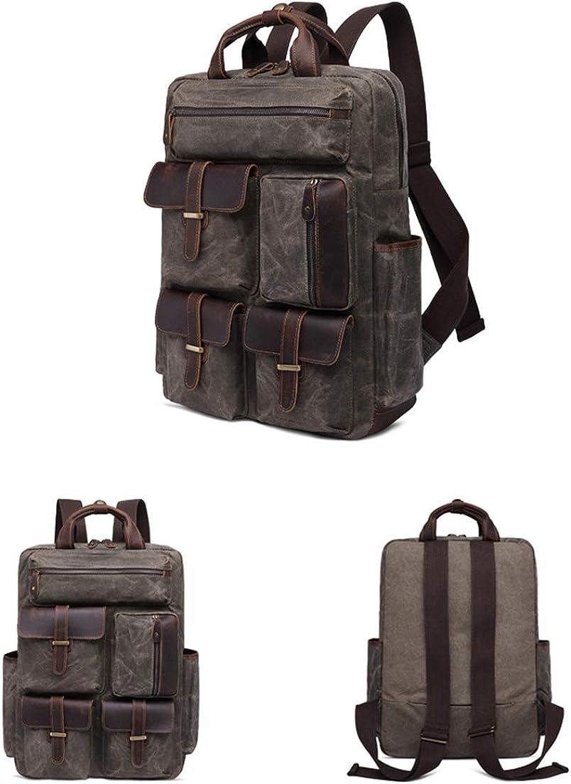 FONKIC Canvas Daypack Multi-Pocket Genuine Leather Laptop Backpack Student Schoolbag