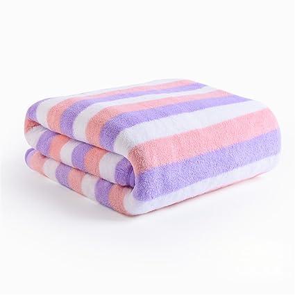 Super absorbente, suave, de secado rápido, envuelto pecho toalla,Double stripe violeta