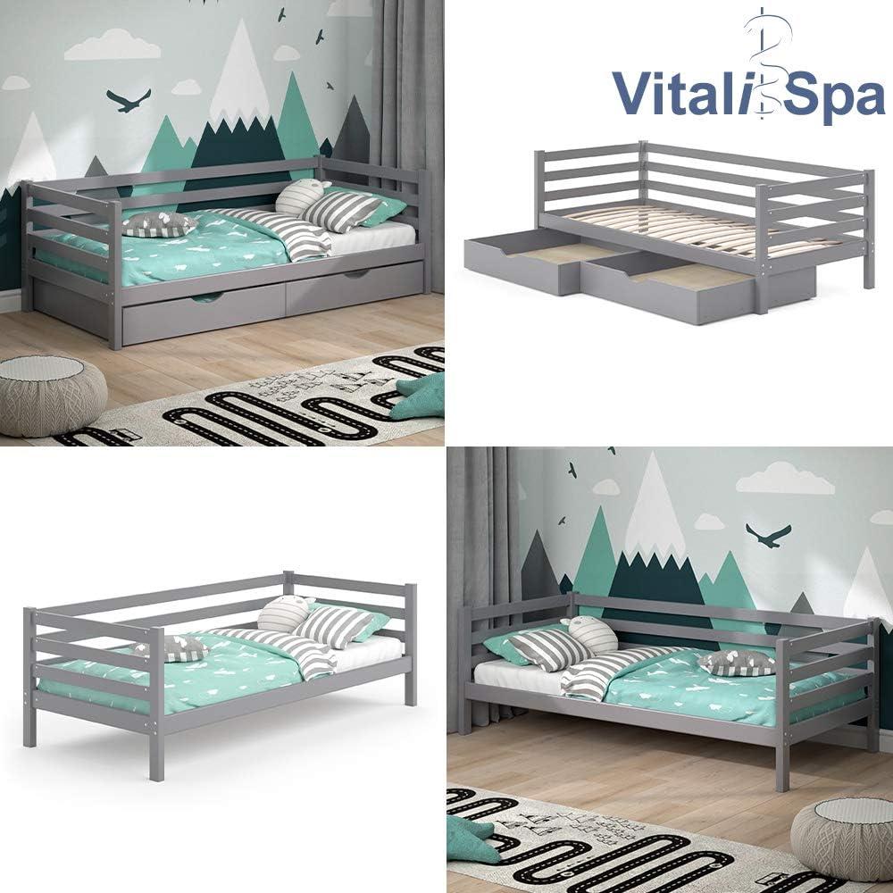 Wei/ß, Mit Matratze und Schubladen VitaliSpa Kinderbett Darcy 90x200cm Lattenrost Schubladen Jugendbett Juniorbett