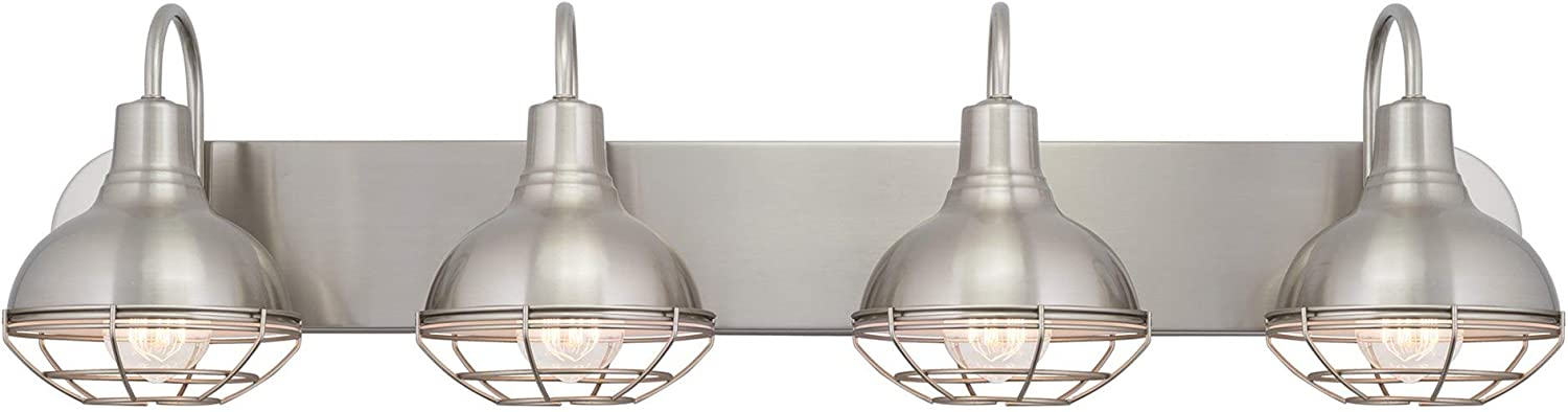 Kira Home Liberty 36 4-Light Modern Industrial Vanity Bathroom Light, Brushed Nickel Finish
