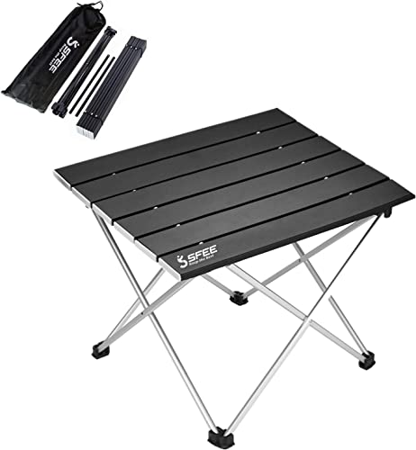 Sfee Folding Camping Table – Portable Ultralight Aluminum Camp Table Lightweight Compact Roll Up Picnic Table for Picnic Outdoor Hiking BBQ Camping Kitchen Fishing Beach with Carry Bag