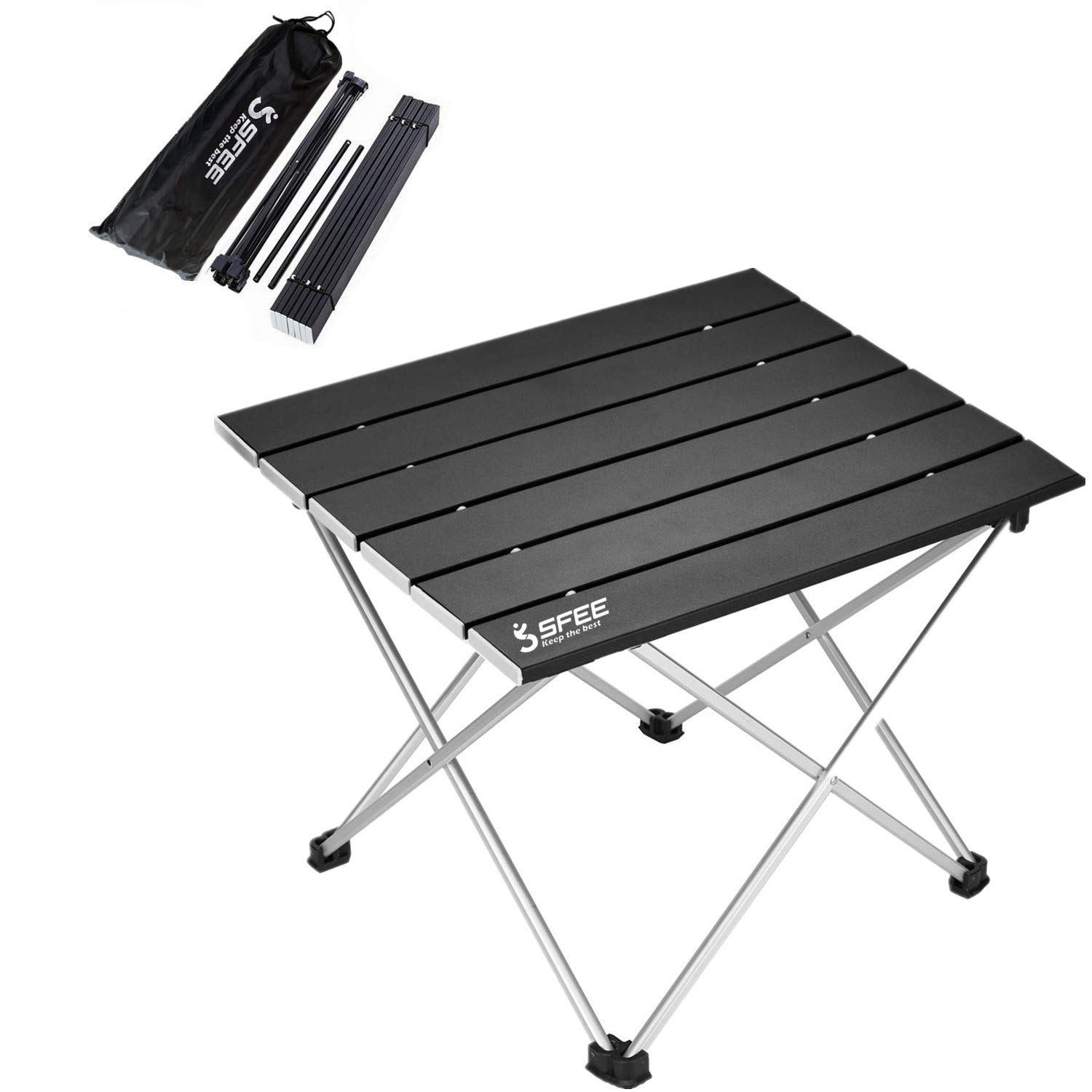 Sfee Folding Camping Table - Portable Ultralight Aluminum Camp Table Lightweight Compact Roll Up Picnic Table for Picnic Outdoor Hiking BBQ Camping Kitchen Fishing Beach with Carry Bag (Black) by Sfee