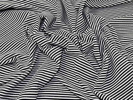 46519befe83 Stripey Metallic Rib Stretch Jersey Knit Dress Fabric Black, White & Silver  - per metre: Amazon.co.uk: Kitchen & Home
