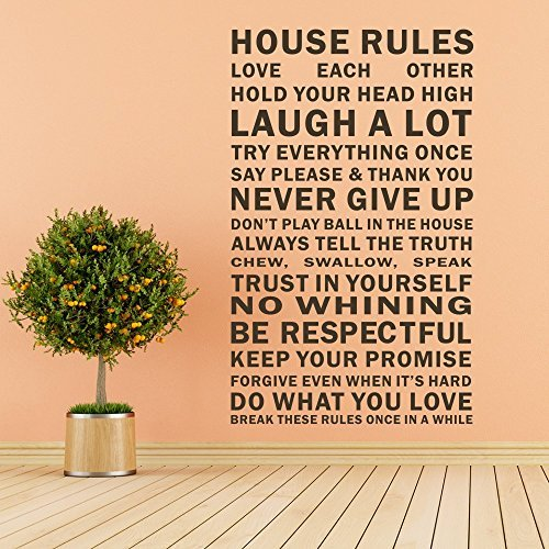 House Rules Vinyl Wall Art Decal Sticker Wall Quotes (Black, (Small Deco House)