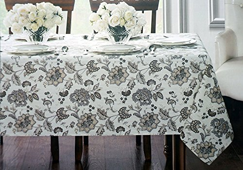 Jacobean Floral Print - Waterford Linens Fabric Easy Care Tablecloth, 60 by 84 Inch Rectangle -- Elena, Neutral -- Classical Jacobean Floral Print Pattern Brown Beige Taupe Tan on Cream
