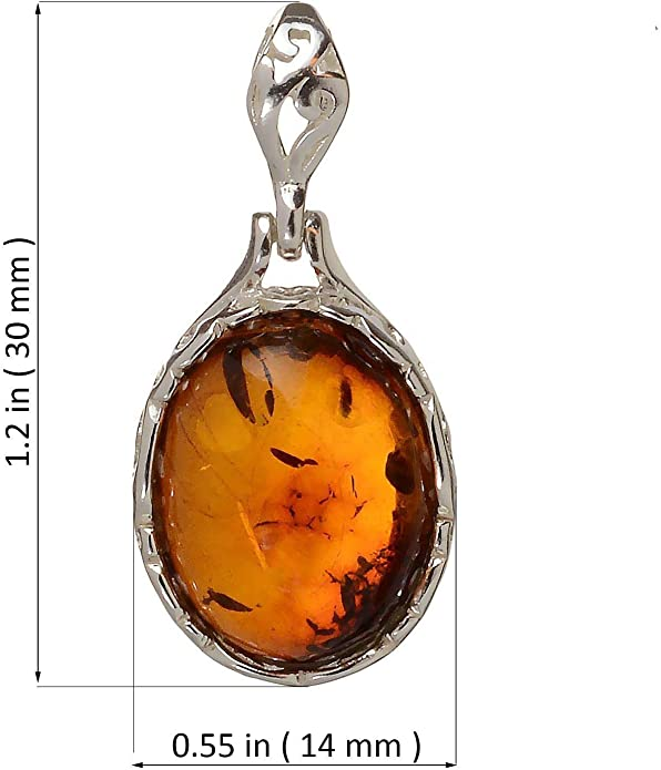 HolidayGiftShops Sterling Silver and Baltic Amber Two Birds Spirits Pendant