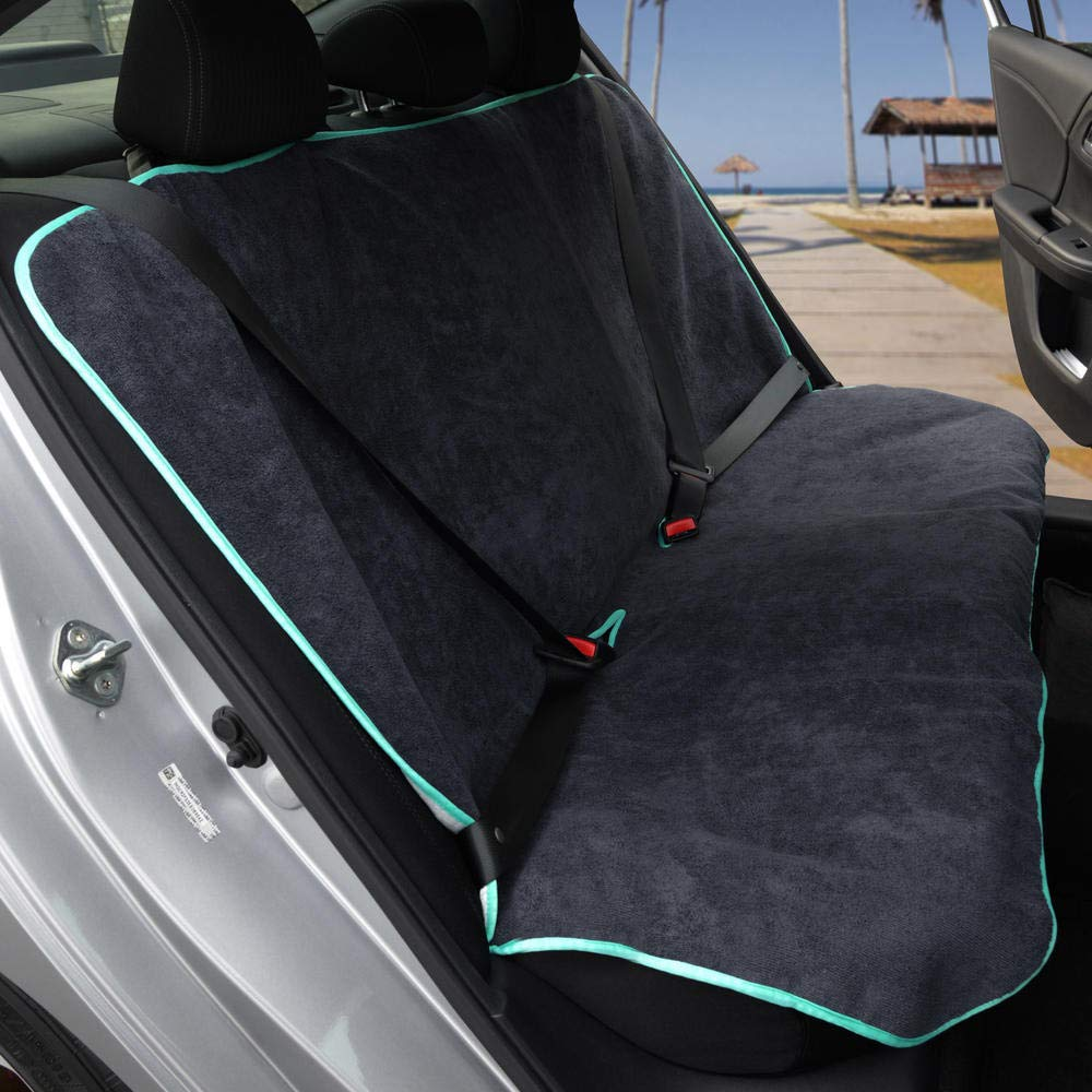 UltraFit Sweat Towel Bench Car Seat Cover for Yoga Running Crossfit Workout Athletes Bench, Black Waterproof Machine Washable Beach Swimming Outdoor Sports Auto Rear Seat Protector