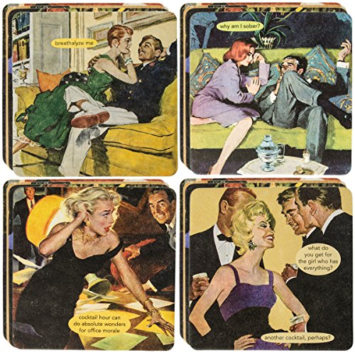 Pink Glass Photo Coaster - Anne Taintor 18pc Drink Coasters Set For Drinks Glasses Funny Unique Quotes & Photos