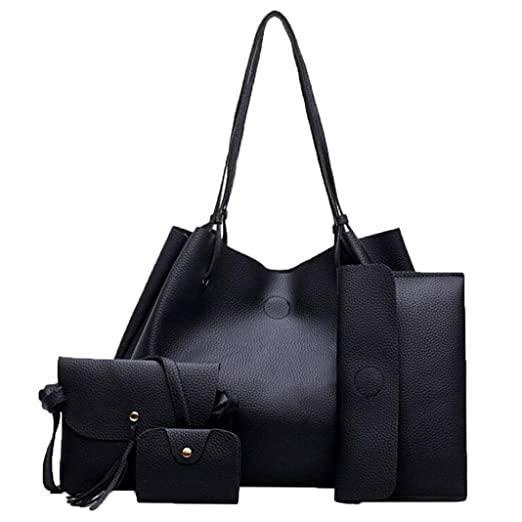 816245a3d3 Amazon.com  Women Handbag Fashion Four Sets Bag Women Leather ...
