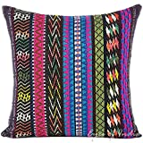 Eyes of India - 16'' Black Pink Blue Big Striped Sofa Couch Pillow Cushion Cover Colorful Decorative Throw Boho Bohemian Indian MoroccanCover Only