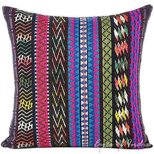 Eyes of India - 16'' Black Pink Blue Big Striped Sofa Couch Pillow Cushion Cover Colorful Decorative Throw Boho Bohemian Indian MoroccanCover Only by Eyes of India