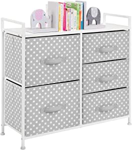 """mDesign Wide Dresser 5 Drawers Storage Furniture - Wood Top, Easy Pull Fabric Bins - Organizer for Child/Kids Room or Nursery - Polka Dot Pattern, 32.6"""" W - Gray with White Dots"""
