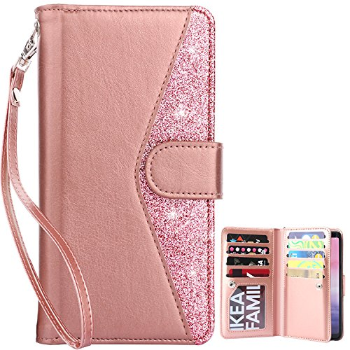 Dailylux Galaxy Note 8 Case, Note 8 Wallet Case Premium Soft PU Leather Closure Flip Case with 9 Card Slots and Detachable Wrist Lanyard Cover for Samsung Galaxy Note 8 2017-Bling Rose Gold