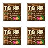 Ambesonne Tiki Bar Coaster Set Four, Aged Old Frame Sign Tiki Bar Inspirational Quote Leisure Travel Print, Square Hardboard Gloss Coasters Drinks, Multicolor