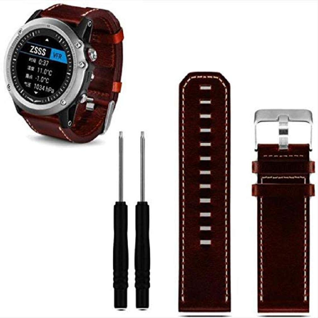 Fashion Clearance! Noopvan Garmin Fenix 3 Band,Luxury Leather Strap Replacement Watch Band with Tools for Garmin Fenix 3 (Brown)