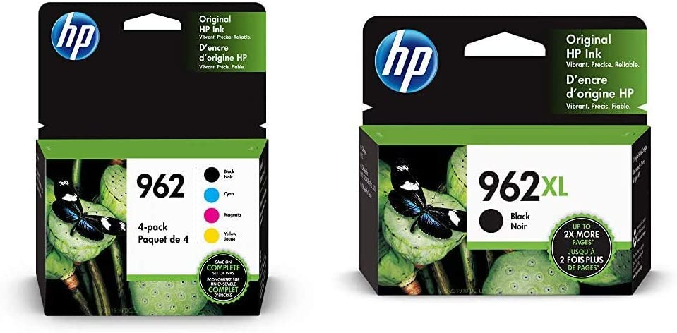 HP 962 | 4 Ink Cartridges| Black, Cyan, Magenta, Yellow | 3HZ99AN, 3HZ96AN, 3HZ97AN, 3HZ98AN & 962XL | Ink Cartridge | Black | 3JA03AN