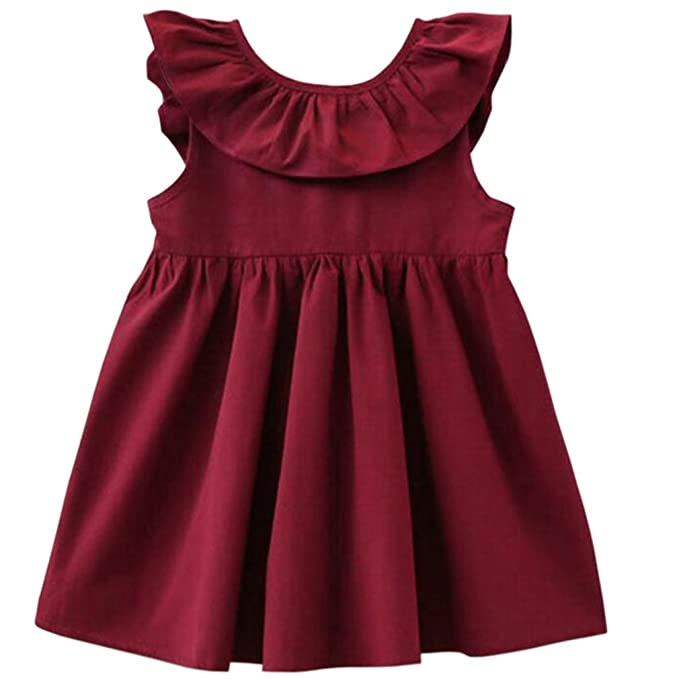 dc575ee885a Niyage Toddler Baby Girls Cotton Tunic Dress Swing Casual Sundress Wine red  100