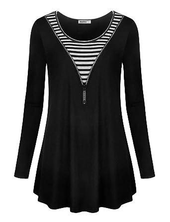 f10b4842be5 Dimildm Women's Long Sleeve Crew Neck Stripes Splicing Zip Up Loose Fit  Flowy Tunic Shirts