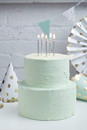 Ginger Ray Silver Foiled Polka Dot Birthday Ice Cake Fountain Sparklers 3 Pack