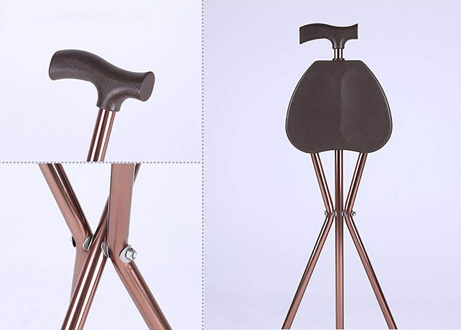 YGUOZ Baston Silla Plegable Muleta Port/átil Asiento de Bast/ón con T-Mango Bast/ón Ligero Aluminio para Padres Madres Regalos