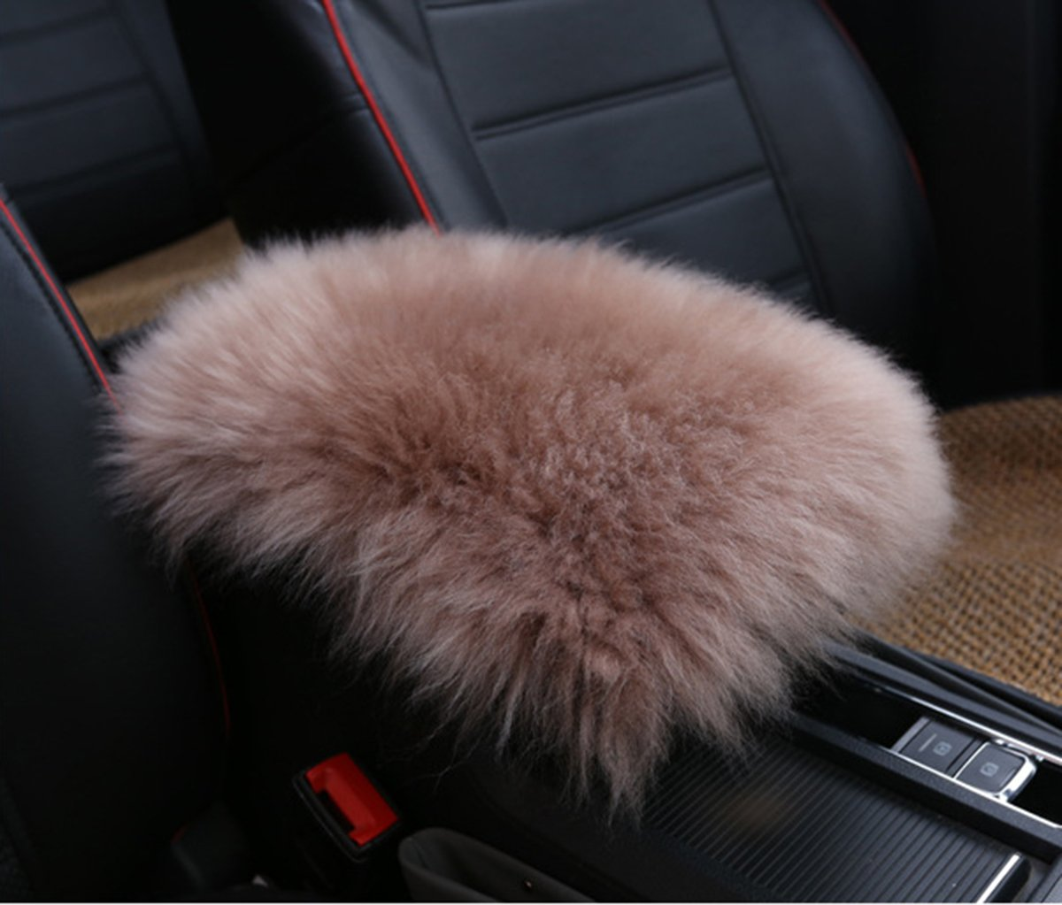 Furry Sheepskin Wool Car Armrest Seat Box Cover Protector Universal Fit Alusbell Auto Center Console Pad W-White