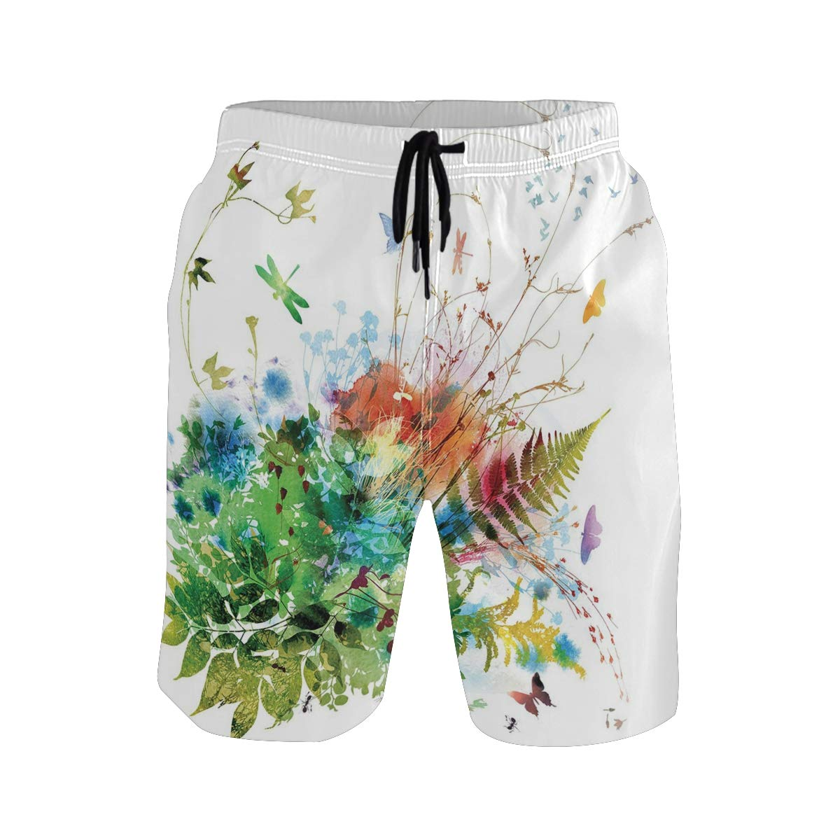 COVASA Mens Summer ShortsFloral Jungle Foliage Summer Design Butterfly Dragonf