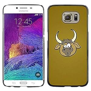 TopCaseStore / la caja del caucho duro de la cubierta de protección de la piel - Cowboy Farm Brown Cartoon - Samsung Galaxy S6 SM-G920