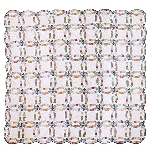 Patch Magic Twin Country Wedding Ring Quilt, 65-Inch by 85-Inch