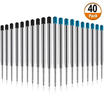 20 Pack Replaceable Ballpoint Pen Refills with Spring Metal Ball Point Refills Smooth Writing Pen Refills Black Medium Point