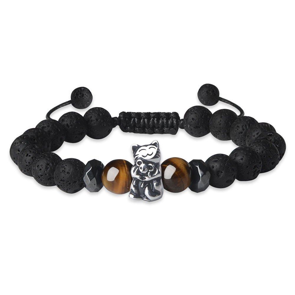 Jeka Cat and Mouse Charm Animal Bracelet 8mm Healing Energy Black Lava Rock Jewelry Women Girl Beads Adjustable Graduation