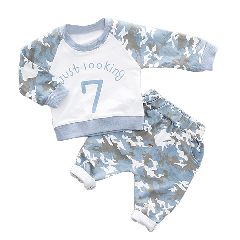 7b5c42d51 La Vogue Kids Boys Girls 2pcs Camouflage Letter Print Shirts and Pants  Tracksuit Outfits Clothes