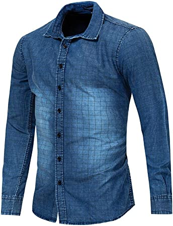 Camisa de Vestir Slim fit para Hombre Camisa Vaquera con Botones de Manga Larga y Corte Slim de algodón de Corte Slim para Hombres Moda (Color : Azul, tamaño : XXXL): Amazon.es:
