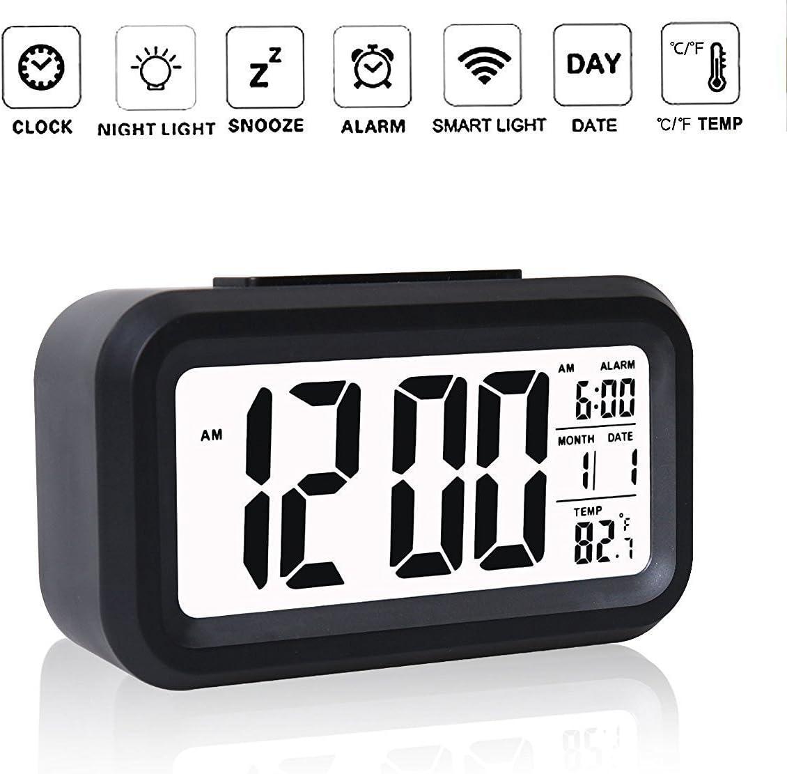 uhmei funciona con pilas Digital LCD Alarma Reloj Automático (brilla en la oscuridad con pantalla extra grande, repetición de alarma, fecha y temperatura pantalla inteligente para luz