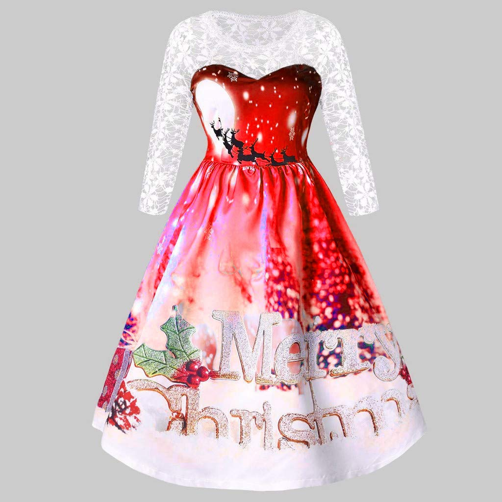 Women Christmas Sexy Lace Patchwork Dresses Xmas Print Half Sleeve Party Swing Dress Ladies Vintage Knee Length Skirts at Amazon Womens Clothing store: