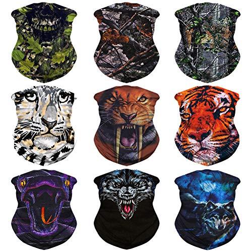 eck Gaiter, Head Wrap, Headband for Men and Women, Multifunctional Head Scarf, Face Mask, Balaclava, Magic Scarf, Sweatband for Fishing, Yoga, Motorcycling (C-9PCS-Animal) ()