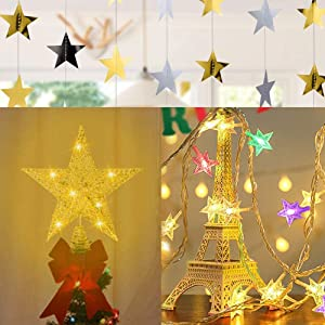 Dnifo Christmas Decoration Set: Christmas Tree Gold Star Topper, Multi-color Star Lights, Gold And Silver Star Garland, Shin Christmas Tree Decorations Sets For Home Or Outside