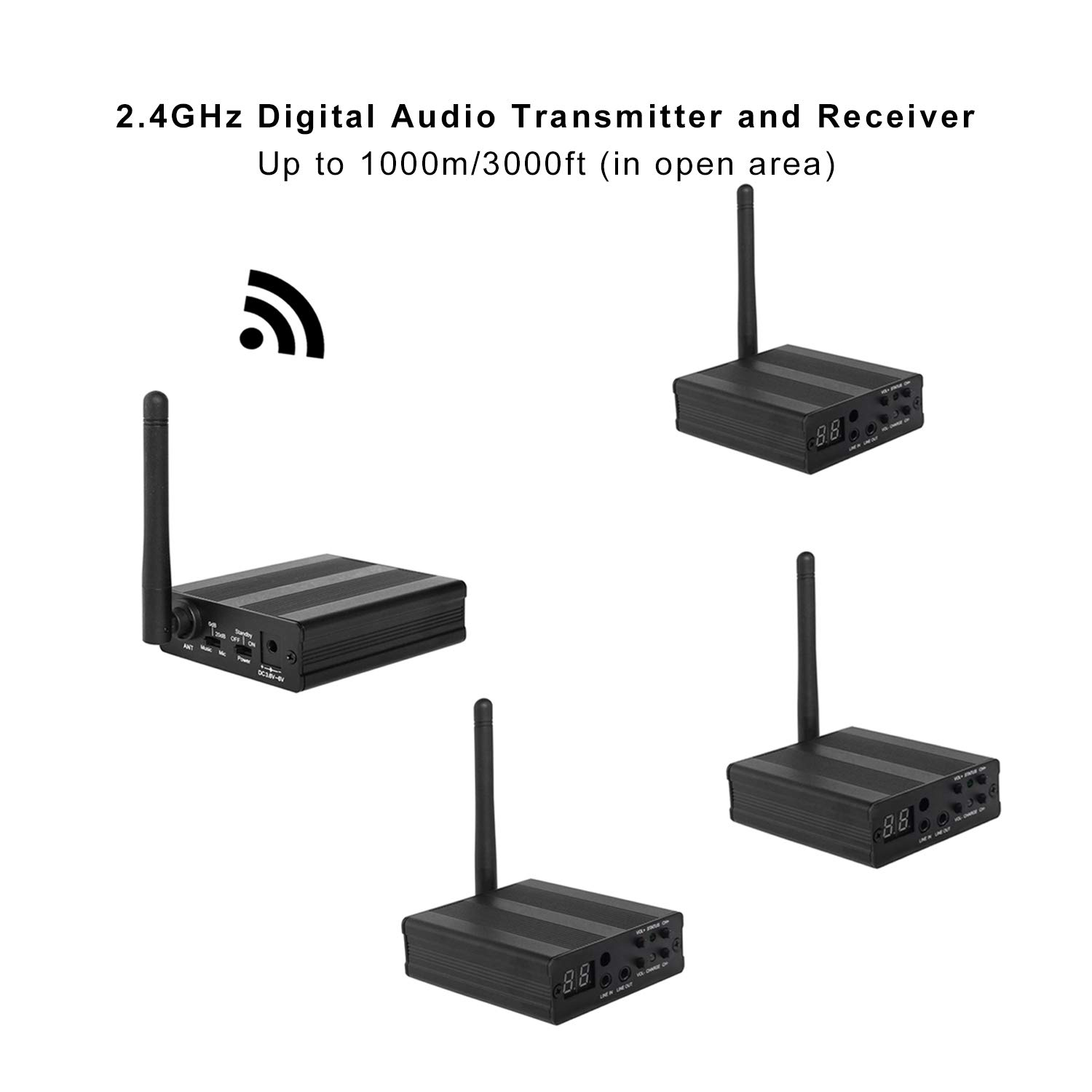 TP-WIRELESS 2.4GHz Long Range HiFi Audio Adapter, AUX/RCA for Music Streaming Stereo Sound System (3000ft 1 Transmitter and 3 Receiver)