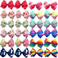 24Pcs Pinwheel Hair Bows for Girls 4.5 Inch Colorful Grosgrain Ribbon Bows with Alligator Hair Clips Pigtail Bows in Pairs for Baby Girls Toddlers Kids Children