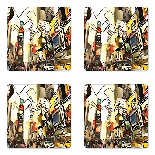 Lunarable Urban Coaster Set of Four, Different Metropolis City Crowded Street Abstract Panorama Illustration, Square Hardboard Gloss Coasters for Drinks, Multicolor