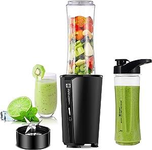 Bullet Blender, Smoothies Blender for Kitchen & Personal Single Serve Blender for Shake, Fruit Juice Mixer with TWO 600ml Portable Travel Bottles, 300W