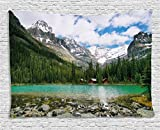 Ambesonne Landscape Tapestry, Canada Ohara Lake Yoho National Park Mountains Nature Scenery Art Photo, Wall Hanging Bedroom Living Room Dorm, 80 W X 60 L inches, Multicolor