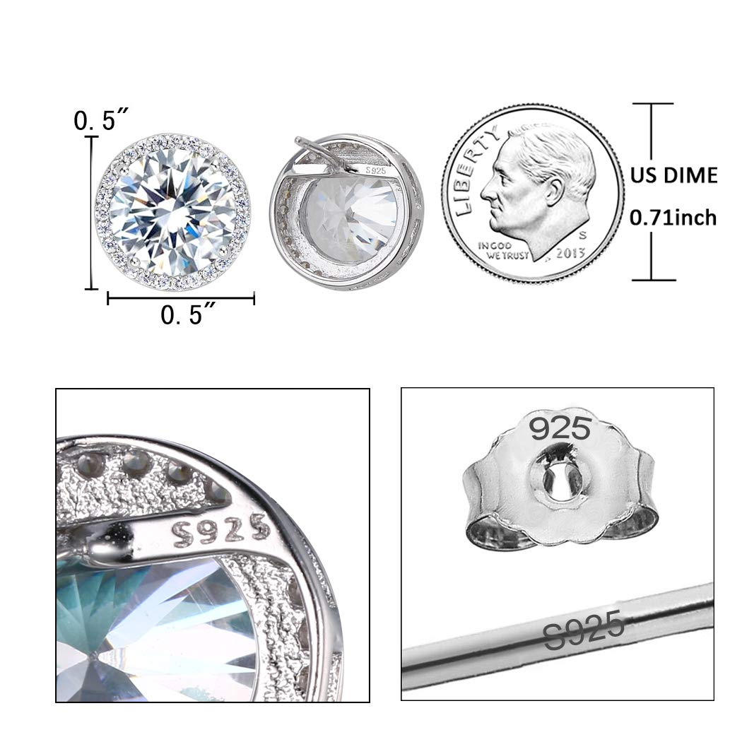 EleQueen 925 Sterling Silver 3.6 Carats Cubic Zirconia Round Halo Bridal Stud Earrings 13mm