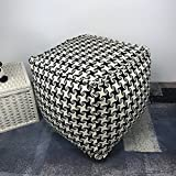 ComforHome Home Decor Bean bag Pouf Floor Pouf Handmade Ottoman; ColorFul Footstool color-24