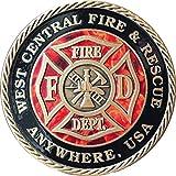 Set of 10 Customized Fire House & City Bronze Fireman Challenge Coin 1 9/16'' Fire Fighter Medallion