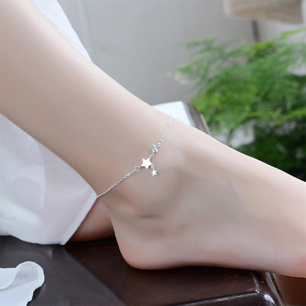 Wonque Bracelet de Cheville en Argent pour Femme avec pendentifs /étoile et Pied de Plage