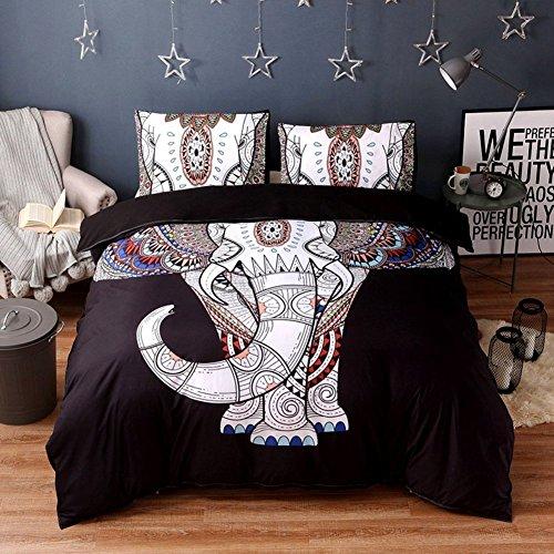 Tenghe Bedding Sets Ethnic Exotic Elephants Print Duvet Cover Sets Bohemia Mandala 1 Duvert Cover +2 Pillow Cases Queen King Queen Size(Queen,Pattern 1)
