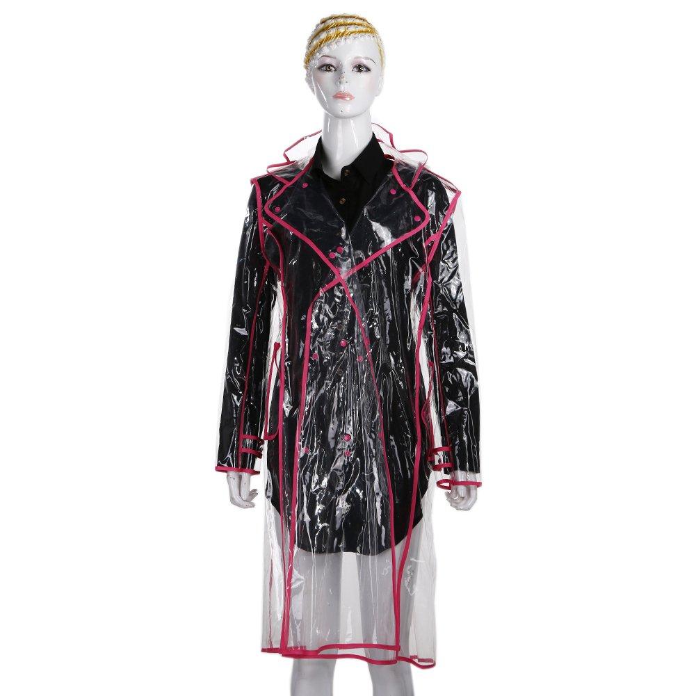 Chinatera Women Transparent Waterproof Hooded Knee-length Colorful Edge Raincoat Long Sleeve Waterproof Raincoat Clothing