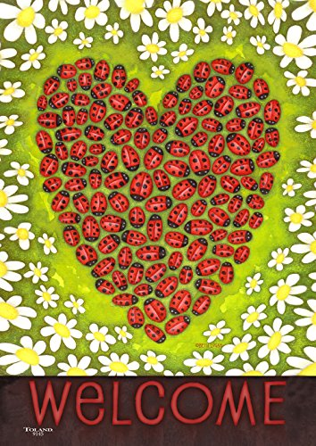 (Toland Home Garden Ladybug Heart 12.5 x 18 Inch Decorative Spring Summer Bug Daisy Flower Welcome Double Sided Garden Flag)