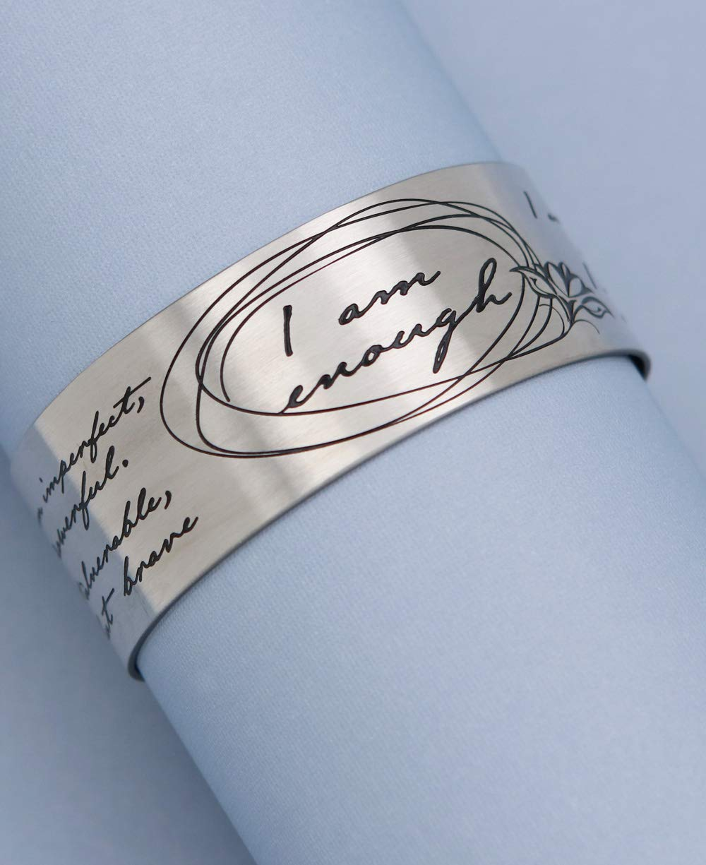 Vera Viva I Am Enough Artistic Calligraphy Adjustable Cuff Bracelet | Made of Stainless Steel | Open Designs Fit Most Wrist Size | Cuff Size 6.5 Inches by Vera Viva (Image #5)